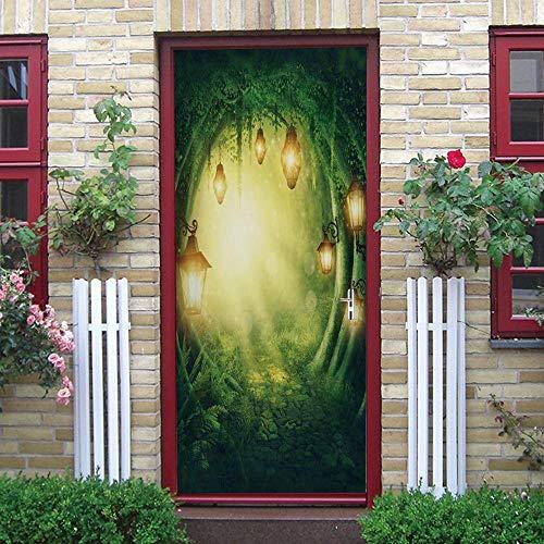 QWEFGDF 3D Porte PVC Papier Peint Lampadaire forestier Porte Amovible en Vinyle Etanche Autocollant Muraux Art Home Chambre salle de bain cuisine Décoration 77X200 Cm
