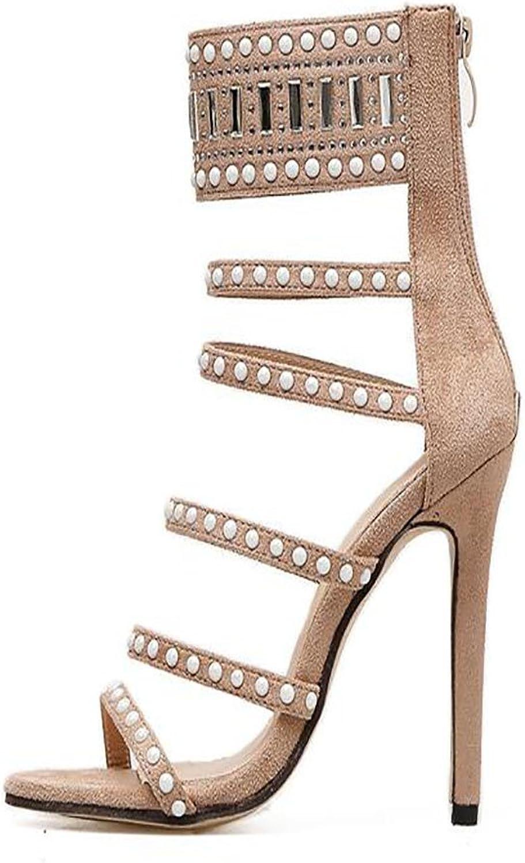 Women's High Heels Hot Diamond High Heel Sandals Beaded Hollow Sexy Suede shoes Daily Outdoor Party JUNBOSI