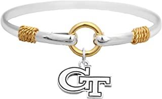 Sports Accessory Store Georgia Tech Yellow Jackets Two Tone Silver Gold Cuff Bracelet Charm Jewelry GT