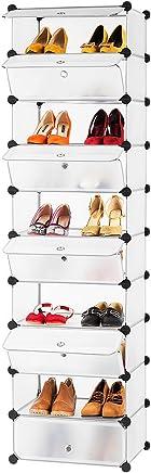 LANGRIA Tour de Rangement à Chaussures Modulable DIY 10 Cubes, Meuble Penderie Etagère avec Modules en Plastique pour la SDB, Garage, Chambre, Salon, Blanc Translucide