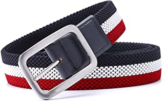 Men's Luxury Gentleman Belt Without Holes Elastic Reversible With Mixed Color Stretch Woven Canvas
