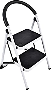 Goplus Step Ladder, Heavy Duty Folding 2 Step Ladder Step Stool with Handgrip and Wide Anti-Slip Platform Sturdy HD Construction, 330lbs Capacity