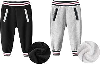 Lubooent Boys Velvet Sweatpants 2 Pack Active Jogger Sweat Pant 2T- 7