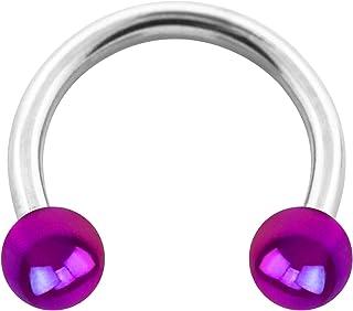 VOTREPIERCING Piercing Herradura Acrílico Efecto Resplandeciente Púrpura Dos Bolas 1.2 x 6 x 3 mm