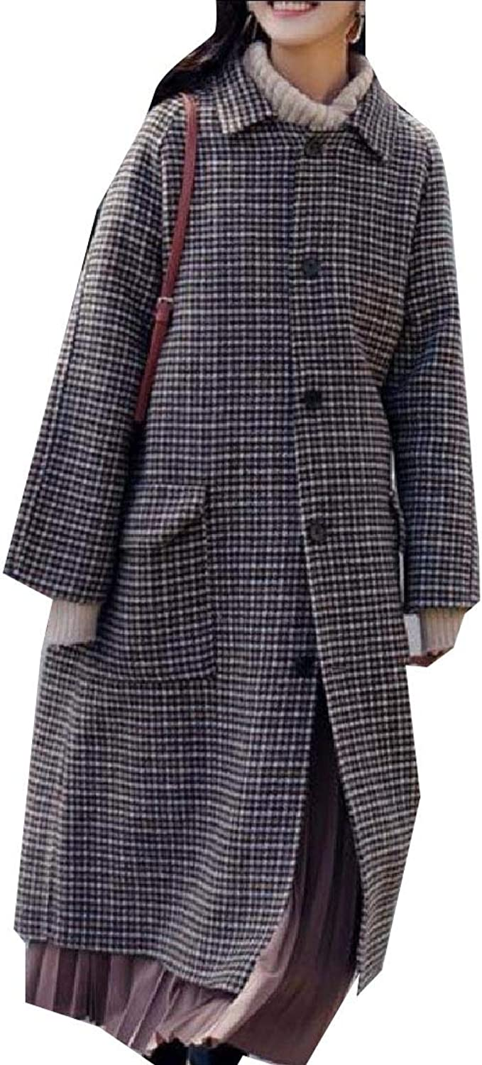 Aooword Women's Houndstooth Outerwear Hepburn Wrap Windproof Pea Coat