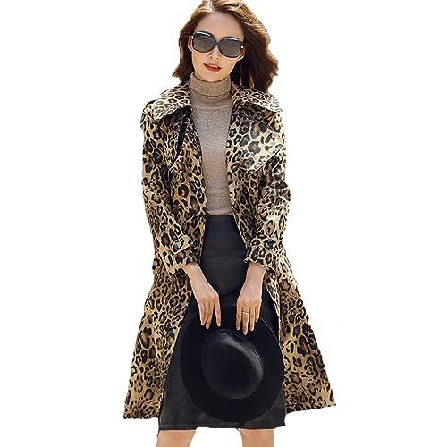 3b0916063cc9 EORISH Women Long Sleeve Lapel Long Overcoat Leopard Print Trench Coat