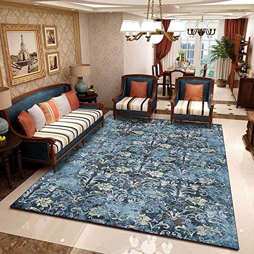 Teppich Moderner Wohnzimmer Große Area Rugs Retro ethnische dunkelblaue Blumen Schlafzimmer Zimmer Teppich Sofa Tisch Kind Krabbeln Matte 160×280CM( 5ft3 x9ft3)