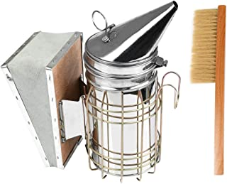 BUYGOO Bee Hive Smoker, Beekeeping Equipment, Heavy Duty Stainless Steel with Heat Shield Beekeeper Necessary Bee Supplies