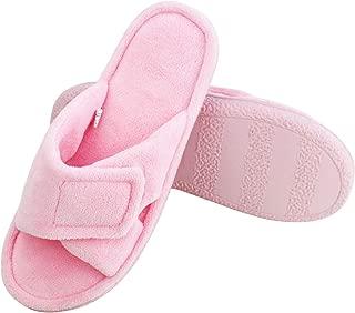 Magtoe Women Memory Foam Indoor Microfiber Terry Adjustable Open-Toe House Slipper