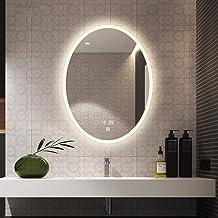 GRJ Household Items& Small Frameless Oval Wall Mirror, Espelho de maquiagem iluminado por LED, espelho de banheiro/pentead...