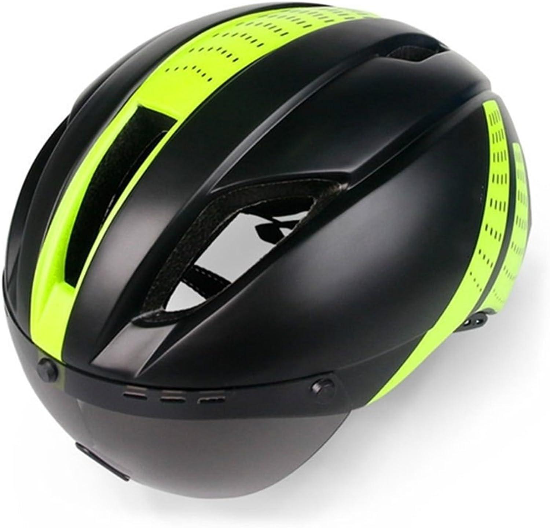 Cycling Helmet Cycle Bike Helmets with Removable Goggles Bike Racing Helmet Adjustable Adult Bicycle Helmet(Black+Green) Sports Goods