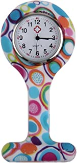 Bluelans Fashion Patterned Silicone Nurse Watch Brooch Fob Pocket Tunic Quartz Movement Watch