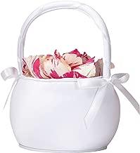 Lillian Rose Round White Satin Flower Girl Basket