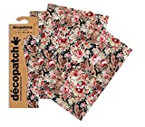 Decopatch Oriental - Papel Decorativo (395 x 298 mm, 3 Unidades), diseño Floral, Color Rosa, Blanco, Negro y Morado