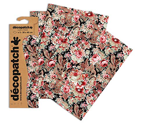 Decopatch Oriental - Papel Decorativo (395 x 298 mm, 3 Unidades), diseño Floral, Color Rosa, Blanco, Negro y Morado