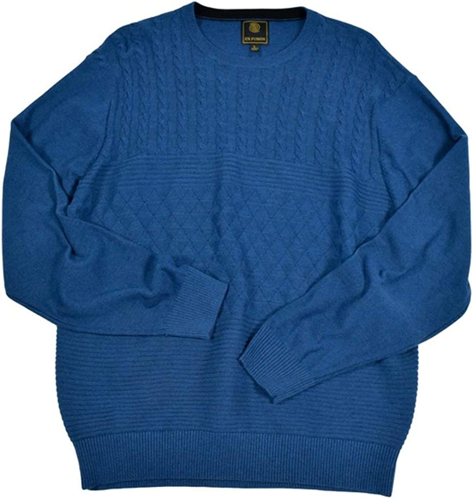 F/X Fusion Solid Textured Big Size Crew Neck Sweater