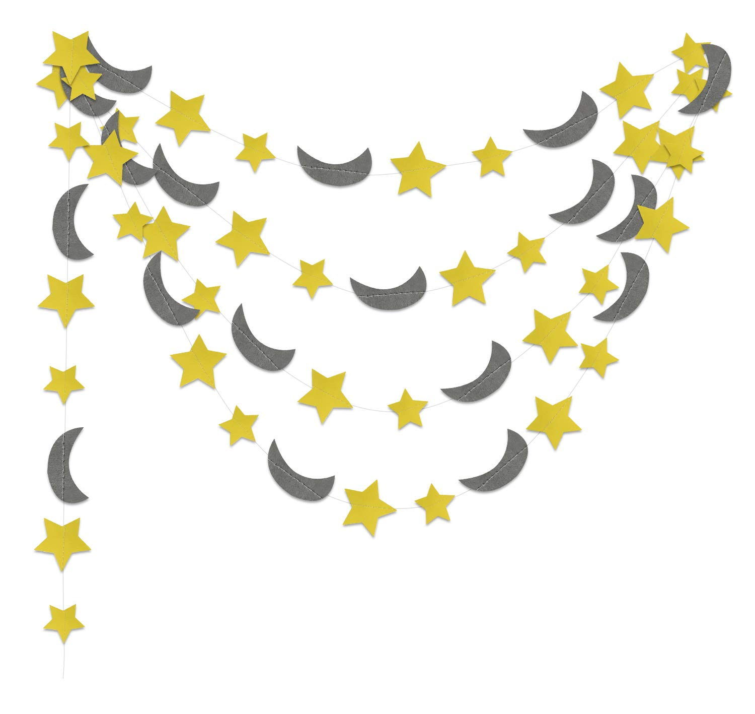 Furuix Yellow Grey Elephant Baby Shower Decorations Moon and Star Garland Decorations for Yellow Birthday Party Decor//Elephant Gray and Yellow Nursery Decorations