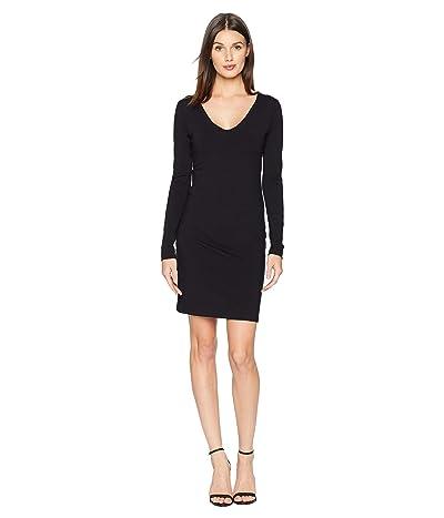 Susana Monaco Long Sleeve V-Neck Dress (Black) Women