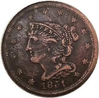 シルバーコインアンティークコレクション外国米国1851ハーフセント銀のドルの真鍮銀は銀のコインを記念貨幣をコピーメッキ