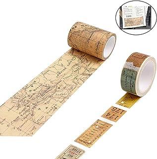2 rollos Vintage Washi Tape Cinta Adhesiva, Bricolaje Craft Adhesive Stickers, Washi Tape Vintage de papel, para manualidades, diarios, envoltorios de regalo, suministros de fiesta de oficina