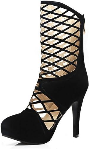 SHINIK Femmes Chaussures Maille Bottes Sandales Daim Daim Haute Talons Imperméable Creux Rouge Bleu Noir Talons