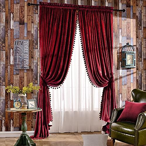 Melodieux Set mit 2 Pompons Samt Verdunkelungsvorhängen für Schlafzimmer Wohnzimmer Thermoisoliert Stangentaschen-Vorhänge, 254 x 244 cm, rot (1 Paar)
