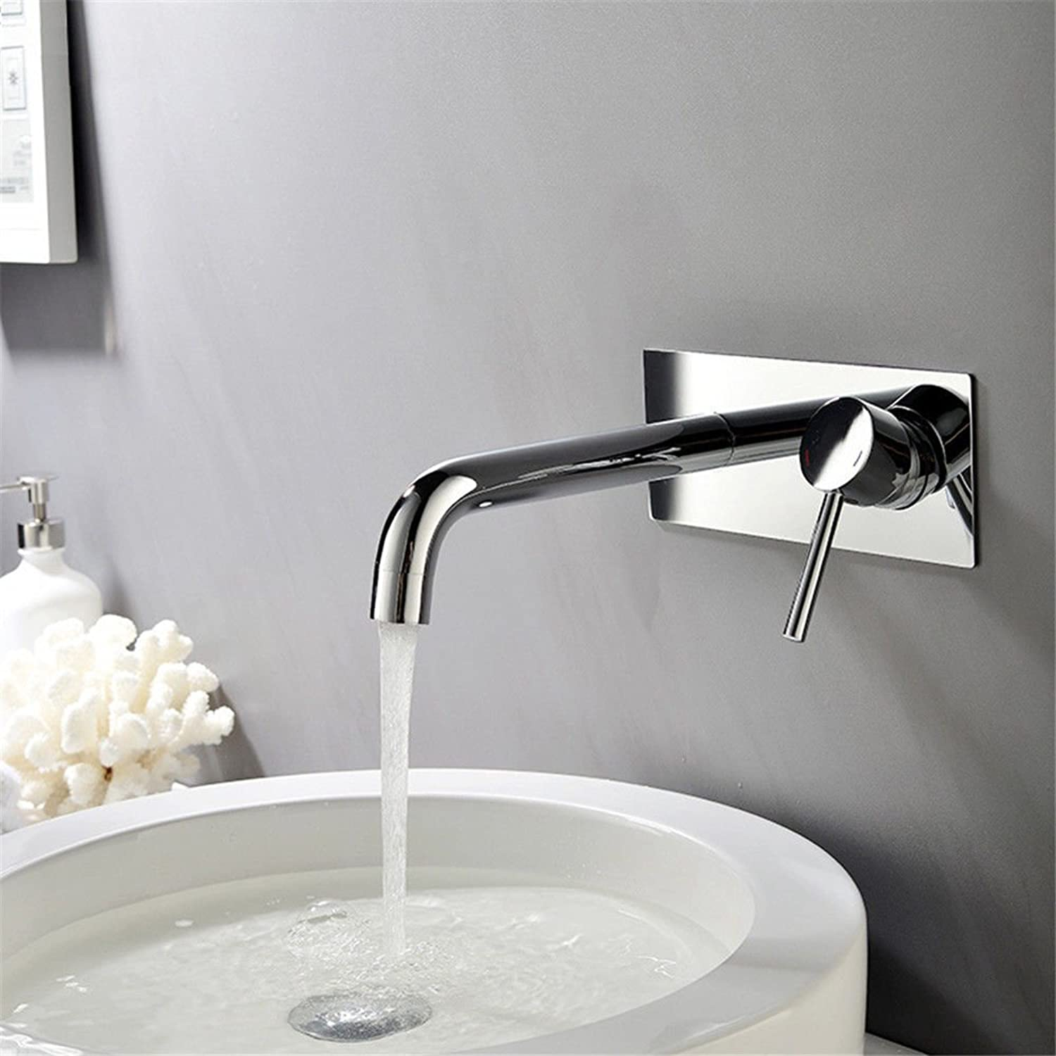 DOJOF Bathroom Sink Faucet Basin Mixer Tap Brass Hot and Cold Water Concea LED in-Wall Single Lever Basin Sink Tap Bathroom Bar Faucet