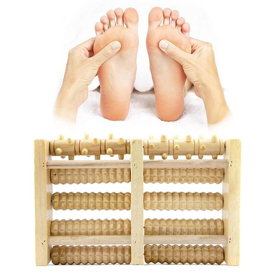盲信演劇枝Wooden Foot Massager 5 Rollers Reflexology Relax Stress Pain Relief Blood Circulation Promotion Foot Care Instrument