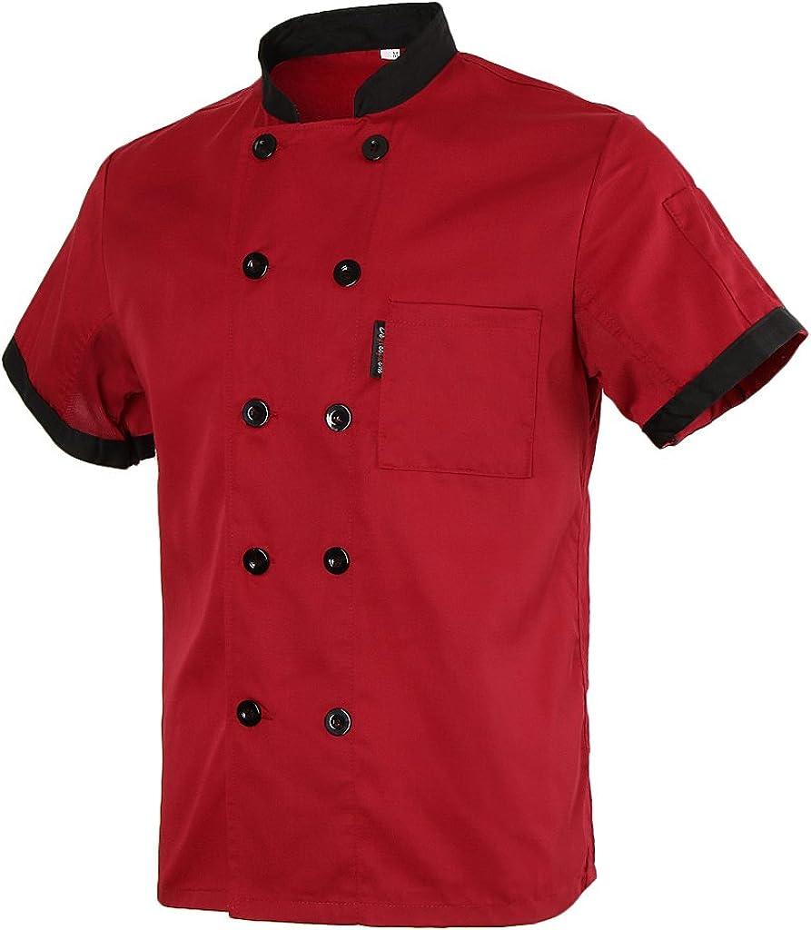 Homyl Short Mesh Sleeves Chef Jacket Coat Kitchen Bakery Uniform