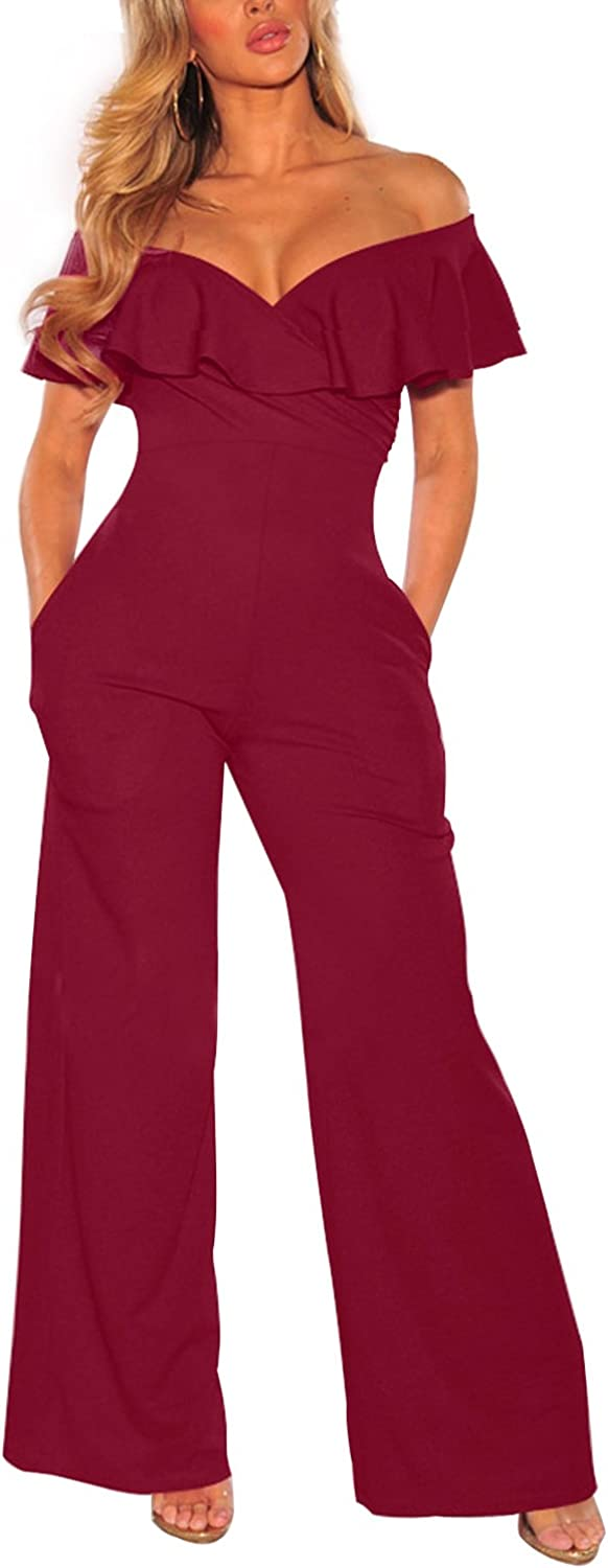 Cosics Summer Rompers, Ruffle Sleeves Burgundy Jumpsuit, Casual Off The Shoulder Romper, Long Romper Jumpsuit