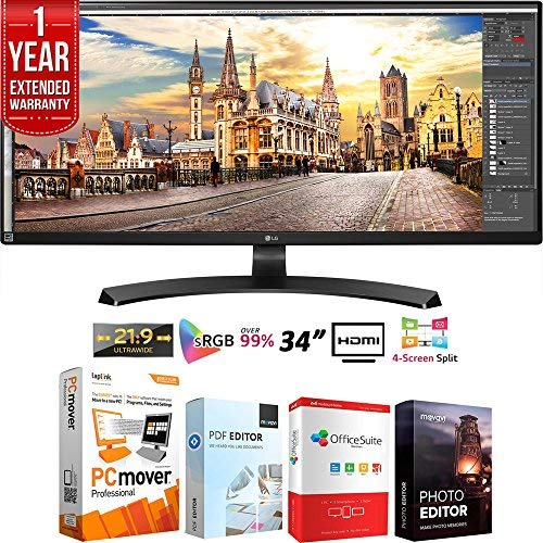 LG 34UM68-P 34-inch 21:9 UltraWide FreeSync 2560 x1080 IPS Monitor Bundle with Elite Suite 18 Standard Editing Software Bundle and 1 Year Extended Warranty