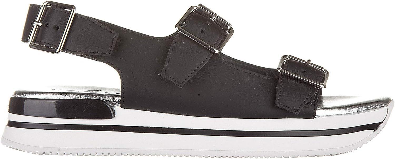 Hogan Women's Leather Sandals Buckles Black