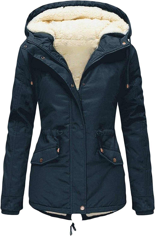 NREALY Women Drawstring Hoodie Coat Fleece Padded Coat Slim Zipper Coat