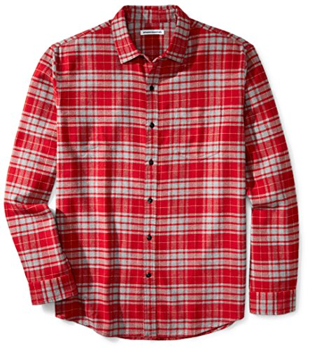Amazon Essentials Herren Flanellhemd, Red/Grey Plaid, Medium