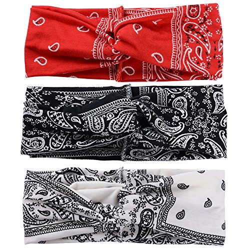 SERWOO Stirnband Damen Kopfband Haarband Turban Elastische Weiche Stirnband Blume Muster bedruckt Verdreht Baumwolle für Alltag Yoga Sport Fitness, Boho Stil (A) - 3 Stück, Einheitsgröße