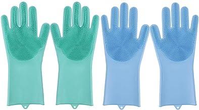 2 Pair afwassen handschoenen Herbruikbare Silicone handschoenen schoonmaken Brush Spons Handschoenen Keuken Car badkamer P...