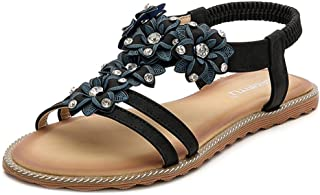 HPLY Women's Summer Beach Bohemia Sandals Crystal Flat Sandals