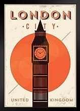 London City Big Ben Retro Travel Art Black Wood Framed Art Poster 14x20