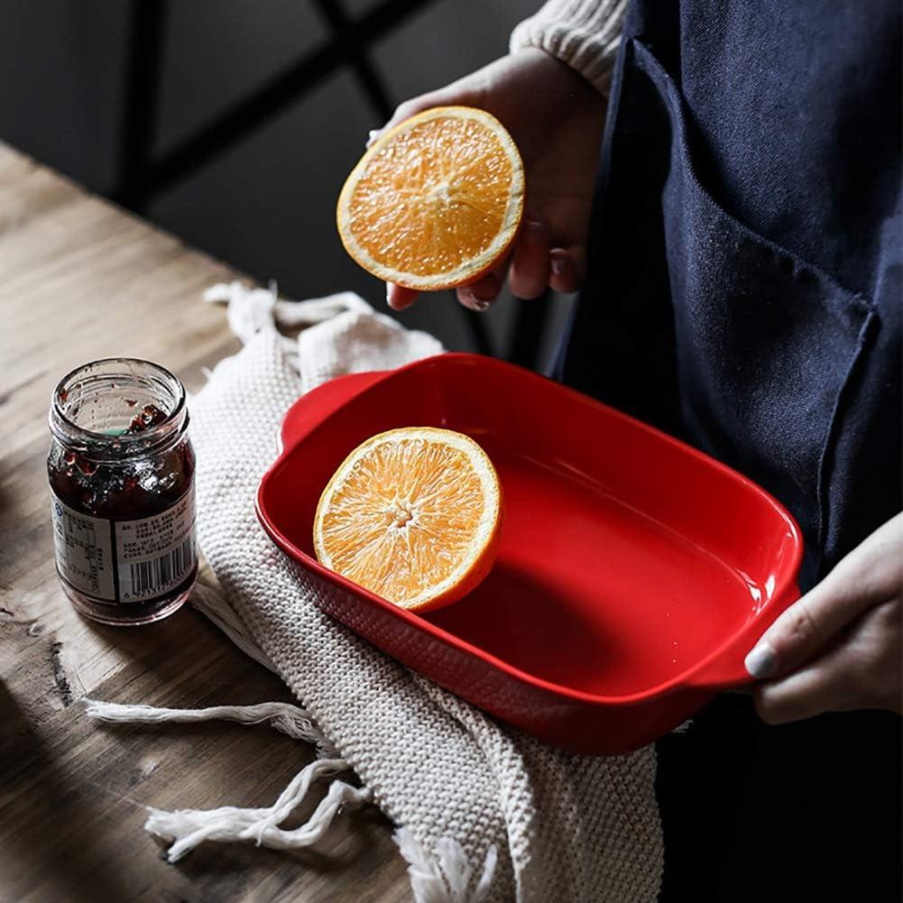 Plat de cuisson rectangulaire en céramique avec poignées Idéal for tarte à lasagne, 23,3X13,2 X 4,5 cm cadeau (Couleur : Blanc) Rouge