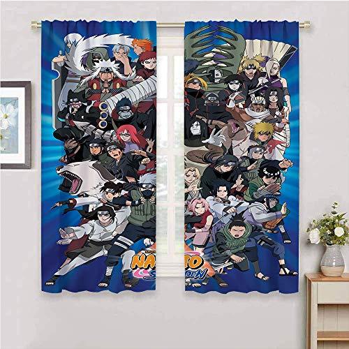 Cortinas opacas con aislamiento térmico de anime japonés Naru-to para sala de estar, 72 x 63 pulgadas