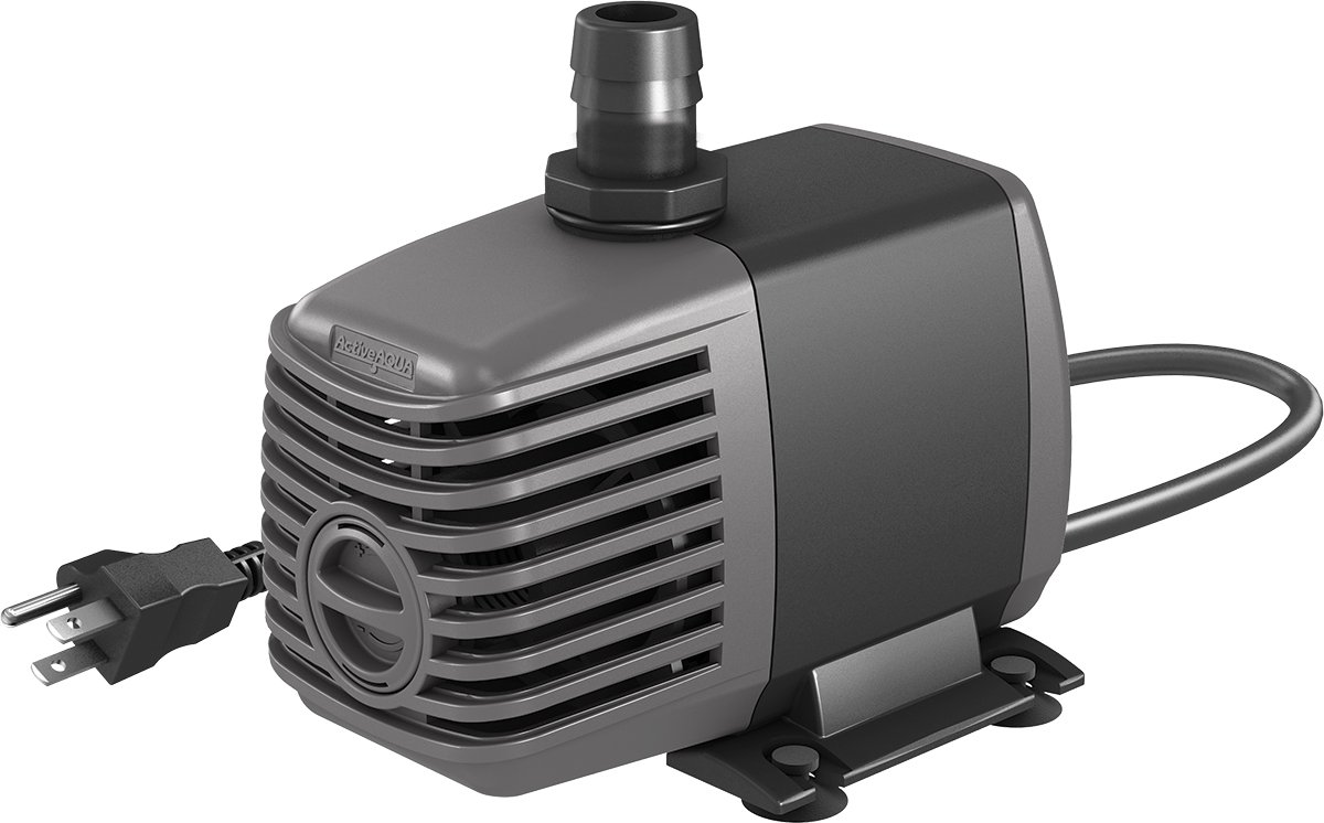 Hydrofarm AAPW400 24-Watt 400 GPH Indoor/Outdoor Hydroponic Aquarium Pond 6ft Power Cord for 40 Gallon Reservoirs Submersible Water Pump, 400-GPH, Dark Grey/Black