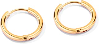FANCIME Small Mens Hoop Earrings Huggie Cartilage Piercing Hip-hop Endless Circle Tiny Sleeper Hoop Earrings 14K أسود/أبيض...