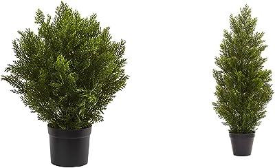 Nearly Natural 6880 2' Cedar Artificial Bush (Indoor/Outdoor), Green & 3' Mini (Indoor/Outdoor) Cedar Pine Tree, 3', Green