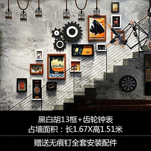 Industrielle Gemälde Treppe wand Galerie art Cafe - style Film Wandmalerei Wandmalerei, Hu 13 Black und White Box + Getriebe Uhren