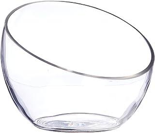 "WGV Clear Slant Cut Bowl Glass Vase/Glass Terrarium/Candy Jar, 6"" x 2.7"" With Microfiber Cloth"