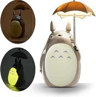 Totoro Umbrella Luz nocturna LED Niño Carácter Lámpara USB Carga (vientre amarillo) Bono Totoro Vaso