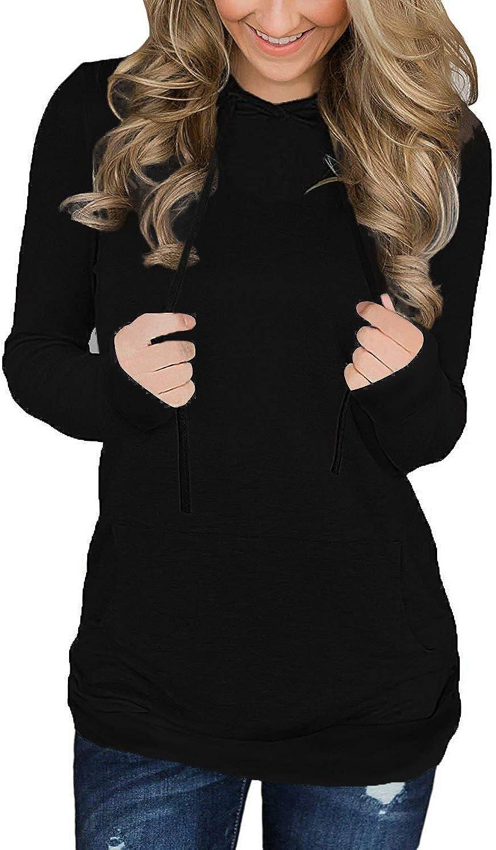 Amstt Women's Casual Long Sleeve Pullover Hoodie Sweatshirt Tops with Pocket