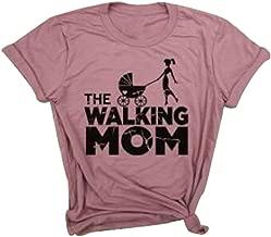 LONBANSTR Women The Walking Mom Funny T Shirt Fashion Casual Short Sleeve Top Tee
