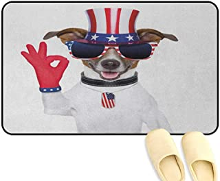 homecoco 4th of July Patio mat Jack Russell with an Uncle Sam Hat Gloves and Giant Sunglasses Celebrating Multicolor Kitchen Decor mats W16 x L24 INCH