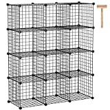 "C&AHOME Wire Cube Storage Organizer, 12-Cube Metal Grid Storage, Storage Bins Shelving, Modular Bookshelf Shelves, DIY Closet Cabinet Ideal for Living Room,Office 36.6""L x 12.4""W x 48.4""H Black"